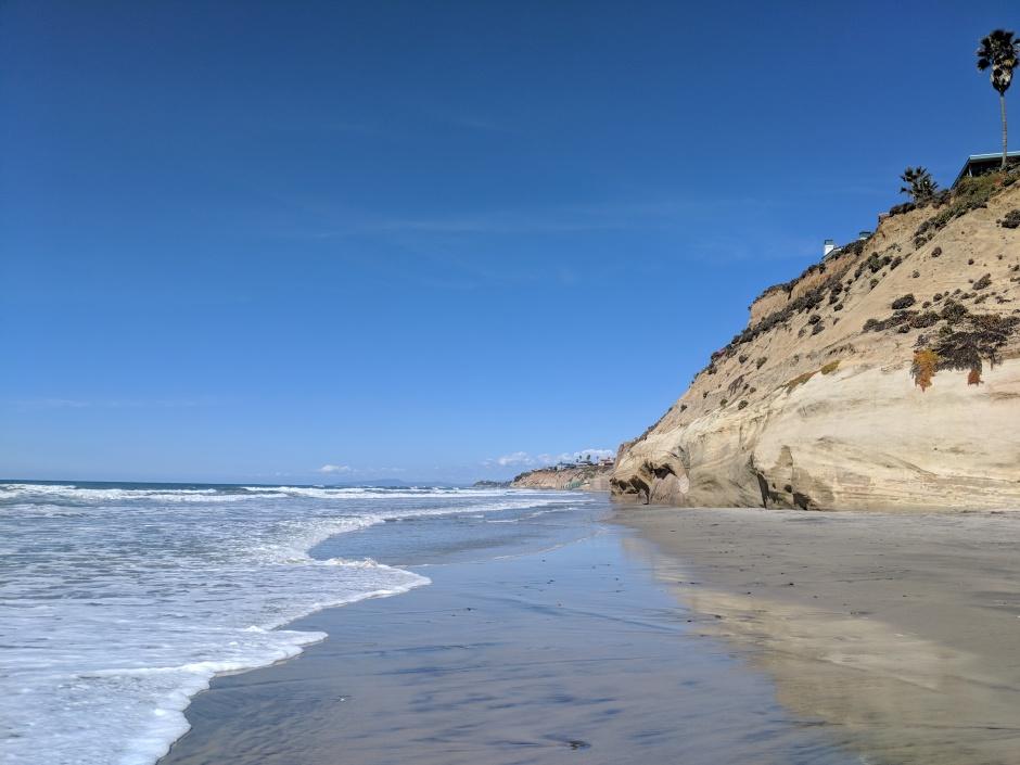 The beach-house lined cliffy coast of San Diego's Solana Beach.