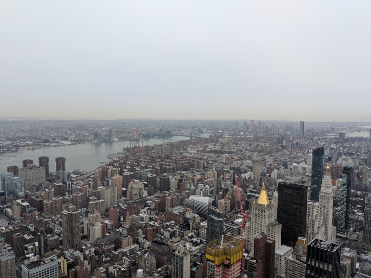 View of New York City skyline from the Empire State Building.